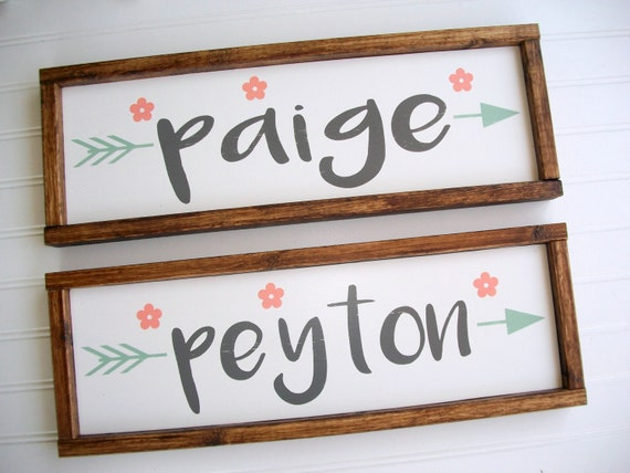Twins Nursery Name Set . Twins Nursery Decor . Pair of Signs. Boho Tribal Arrow . Coral Mint Peach  . Woodland Arrow Name Sign . Boho  .