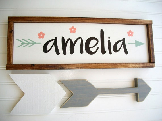Name Sign .Baby Girl . Boho  Tribal Arrow . Coral Mint Peach  . Woodland Arrow Name Sign . Boho Sign . Modern Nursery . Big Girl Room