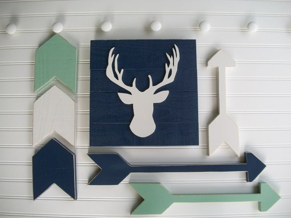 Tribal Nursery Set .Deer Head Sign , Wooden Arrow Set and Chevron Arrow Set . Antler Sign. Woodland Decor . Modern Nursery . Tribal Nursery