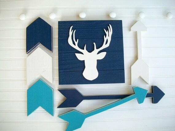 Deer Nursery . Deer Head Sign . Wooden Arrow Set . Chevron Arrow Set . Nursery Decor Set . Wood Antler . Tribal Nursery . Cabin . Forest
