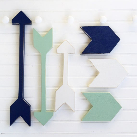 Nursery Arrow Set . Wooden Arrows . Arrow Decor . Chevron Arrows  .Tribal Kids . Navy Mint . Tribal Nursery . Painted Arrow . Arrows