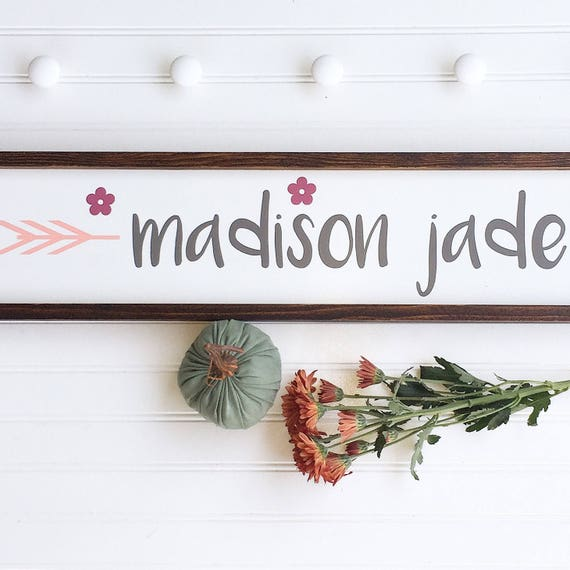 Large Baby Name Sign . Baby Girl . Boho Baby .Woodland Arrow Name Sign . Woodland Nursery Decor . Nursery Name Sign . Boho Baby