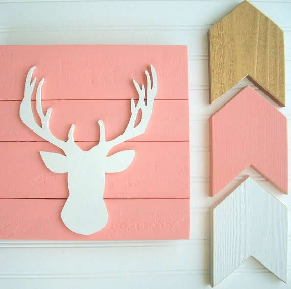 Baby Girl Woodland Nursery Set . Woodlands Fawn . Deer Head . Antler Nursery . Arrows  . Coral Nursery .  Boho Nursery . Baby Girl . Fawn