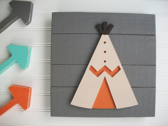 Teepee Wall Decor. Teepee . Teepee Nursery. Teepee Sign .Tribal Nursery .Wood TeePee . Orange. Grey . Tribal Nursery Art . Woodland Decor