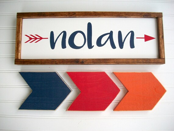 Nursery Name Sign Set . Navy and Red Nursery . Name Sign . Set of Arrows. Tribal Nursery . Rustic Nursery . Woodland . Big Boy Room