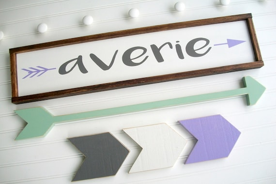 Arrow Nursery Sign . Large Name Sign Set . Baby Girl . Woodland Nursery . Custom Baby Name Sign . Long Arrow . Chevrons . Name Sign . Boho