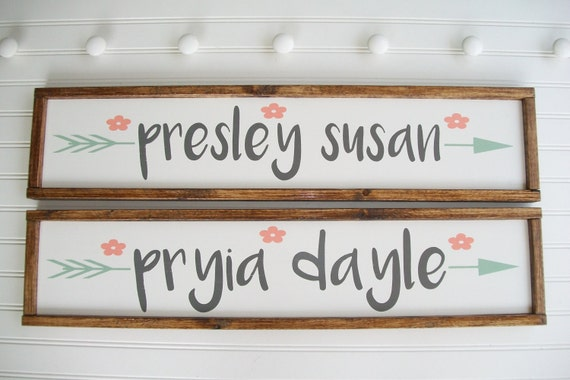 Twin Girls. Baby Girl Nursery Decor. Twins Nursery . Woodland Arrow Name Sign . Woodland Nursery Decor . Nursery Name Sign