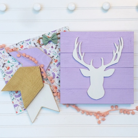Baby Girl Nursery Set . Woodland Fawn . Deer Head . Antler Nursery . Arrows  . Lavender Nursery . Woodland . Boho Nursery . Baby Girl . Fawn