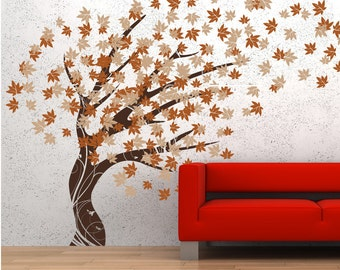 Tree Blowing in the Wind Vinyl Wall Art Decal Sticker Graphics