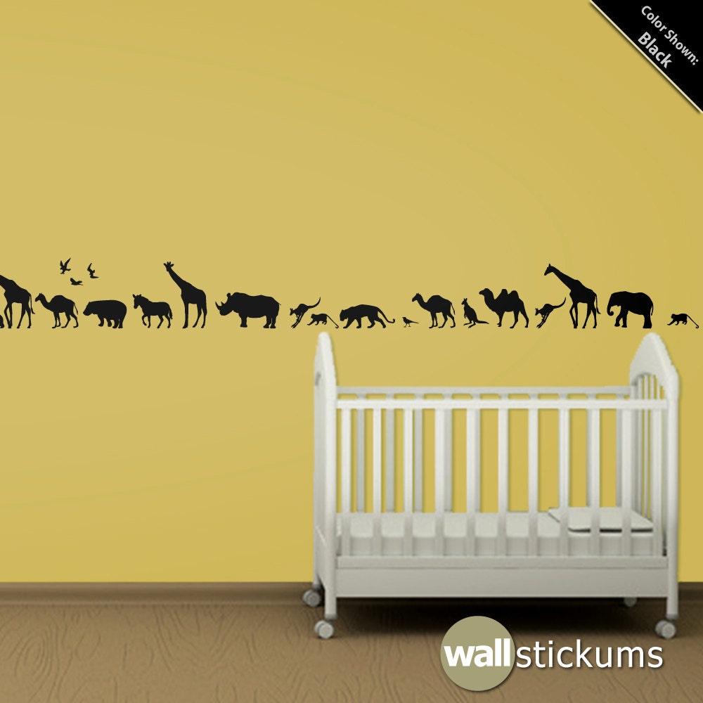 Safari Animals 10 Wall Decal Africa Vinyl Wall Art Decal | Etsy