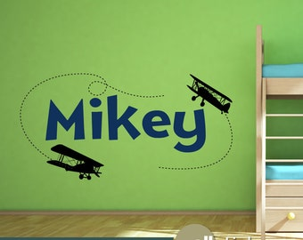 Airplane Wall Decal With Personalized Name Kids Decor Airplane Wall Art Decal