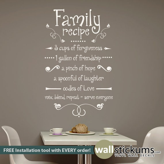 Family Recipe Wall Decal Vinyl Wall Art Decal Quote Kitchen | Etsy