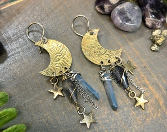Hand stamped Brass crescent Moons with  blue Quartz & Iolite. Earrings handmade with love by Gypsy lotus