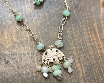 Handmade moon and mountain scene pendant with Chrysoprase and sterling silver chain. Necklace handmade with love by Gypsy Lotus