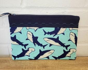 Shark Cosmetic Bag-  Travel bag, Shark Makeup bag, Shark makeup pouch, Shark cosmetic pouch, travel pouch, toiletry bag, Shark bag, Shark
