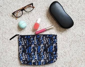 Black Blue Floral Cosmetic bag- machine washable- Travel bag, Makeup bag, makeup pouch, beach cosmetic pouch, travel pouch, toiletry bag