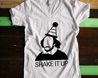 """Women's V-Neck """"Shake It Up"""" William Shakespeare Tshirt by Boise Screen Print Shop (Multiple colors) vintage style shirt"""