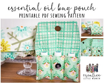 Essential Oil Pouch PATTERN | PDF Sewing Pattern | Essential Oil Bag | Holds 3 - 5 Bottles | Essential Oil Storage Case | 5ml/15ml/*rollers