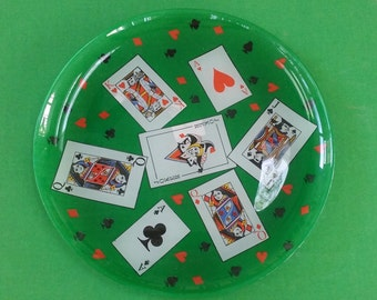 Mid-Century Modern Glass Card and Gaming Hors d'Oeuvres Tray