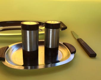 Danish Modern Salt & Pepper Set on its own Tray!