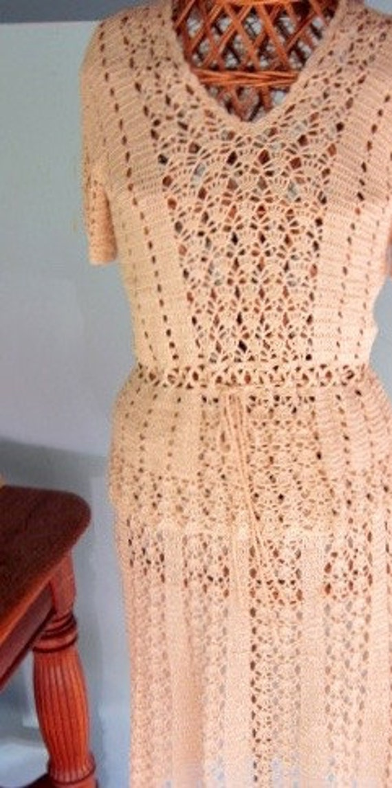 Vintage 1970s Hand-Crocheted Blouse and Skirt Set