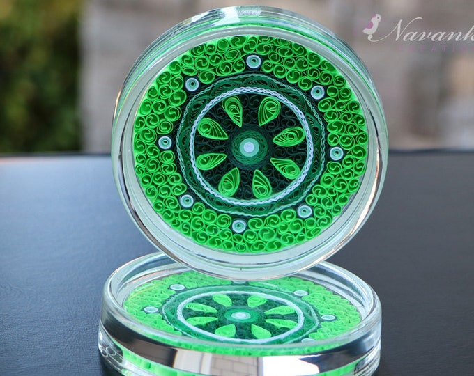 Paper Quilling Coasters in shades of green, Set of two Coasters, Paper Anniversary, Indian Wedding, Housewarming,Quilled Mandala, Christmas