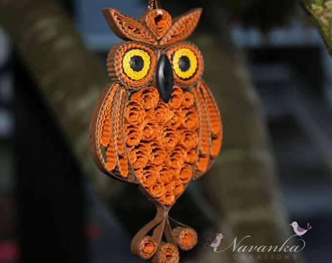 Owl Always love you - Paper Quilling Owl in a gift box , Paper Quilled Owl, Paper Anniversary Christmas