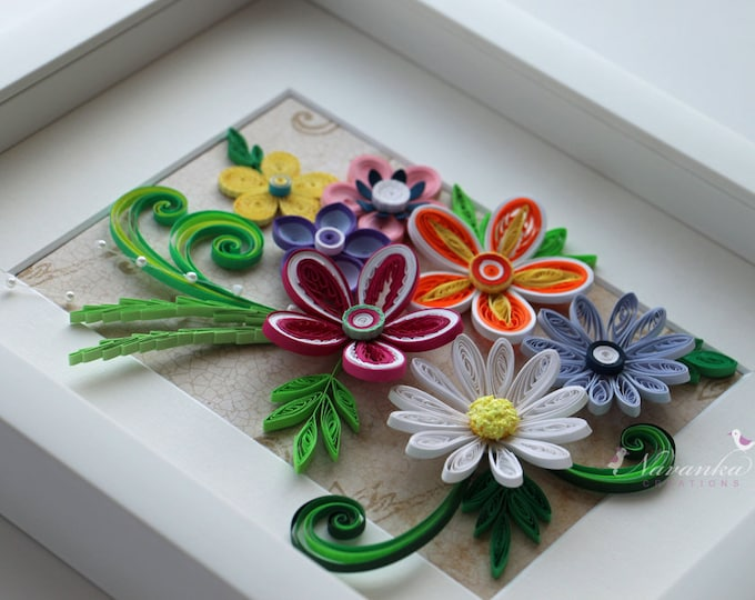 Paper Quilling multi-color flower arrangement for MOTHER, GRANDMOTHER on Birthday,Mother's Day or Hostess gift