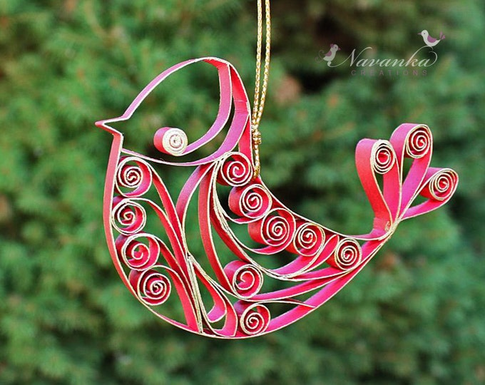 Paper Quilling Red and Gold Bird Ornament in gift box, Bird Keepsake,Mother's Day, Paper Bird, Quilled bird , Red Bird
