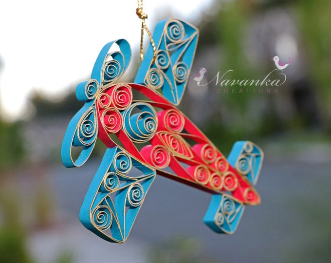 Paper Quilled Airplane,Red and Blue Airplane Ornament in a gift box,Christmas Ornament Paper  Airplane, Airplane Keepsake, Birthday