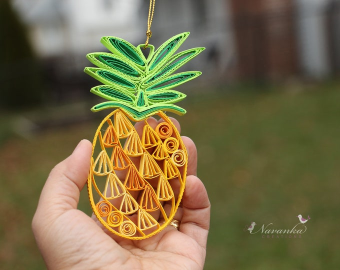 Pineapple Ornament,Paper Quilling Pineapple Ornament,Pineapple Book Shelf Decor,Paper Pineapple Ornament, Tropical ornament,Yellow Pineapple