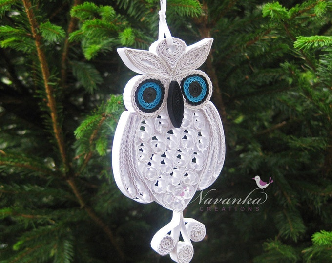 Owl always love you - Paper Quilling Owl in a gift box ,Paper Quilled White Owl,Filigree, Paper Anniversary, Christmas Ornament Snowy Owl