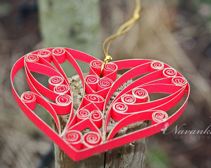 Paper Quilling Heart in a gift box for Christmas, Valentines Day, Paper Quilled Heart Ornament , Red and Gold Heart , Ruby anniversary