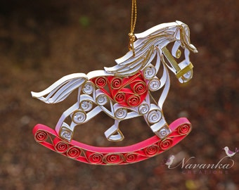 Paper Quilling Rocking Horse Ornament , White and Red Rocking Horse, Rocking Horse keepsake in a gift box, Christmas