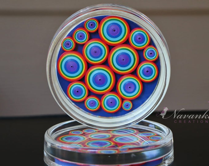 Beautiful coasters with paper quilling in colors of rainbow Set of 2