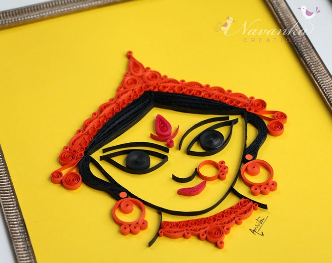 Indian Goddess Durga  Paper Quilling Wall Art , Divine Mother, Durga Puja Gift, Indian festival gift Paper Quilled Kali
