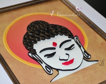 Buddha Wall Art with Paper Quilling, Buddhism, Housewarming, Buddha Home Decor Paper Quilled Buddha Art Wall Hanging Yoga, Holiday Gift
