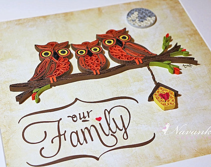 Paper Quilling Owl Family on a branch Framed Wall Art  | Our Family Wall Art with Quilled Owls and Birdhouse | New Home | Made to Order