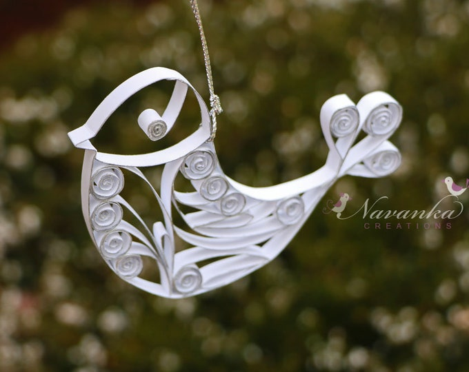 Paper Quilled White Bird Ornament with Silver Edge,  Spring, Baptism, Christmas Ornament, Paper Bird in Gift Box