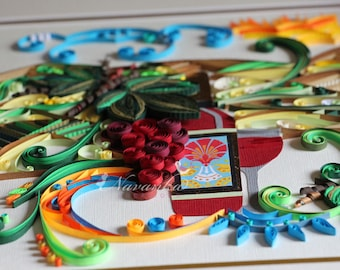 Wine theme Paper Quilling Wall Art with grapes landscape in 11x14 deep frame Made to order