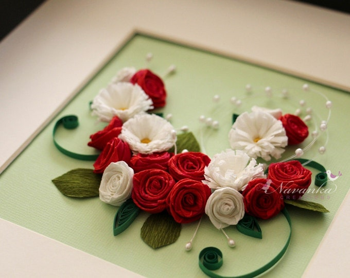 Red Roses and Daisy Framed Wall Art for Mother's Day Valentine's Day Paper Anniversary  Heart shaped art Paper Quilling Wedding , Christmas