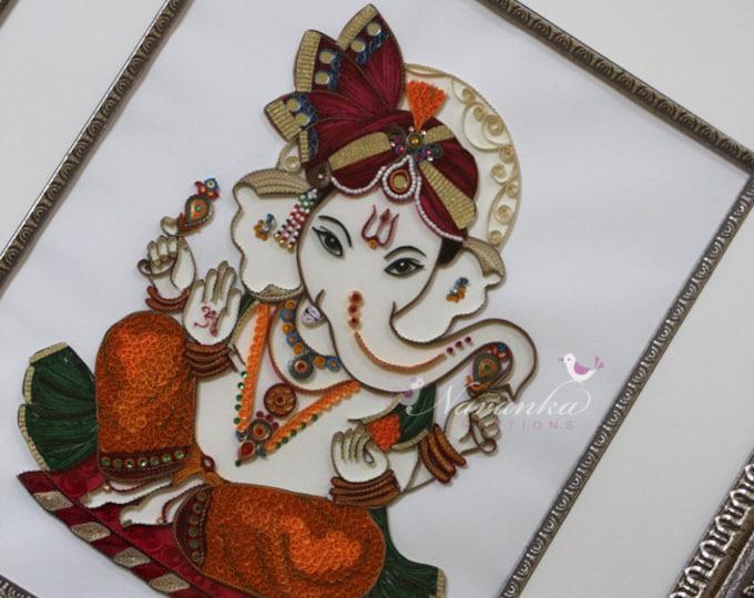 Made to Order Handmade Paper Quilling Ganpati Ganesha UNFRAMED Wall Art