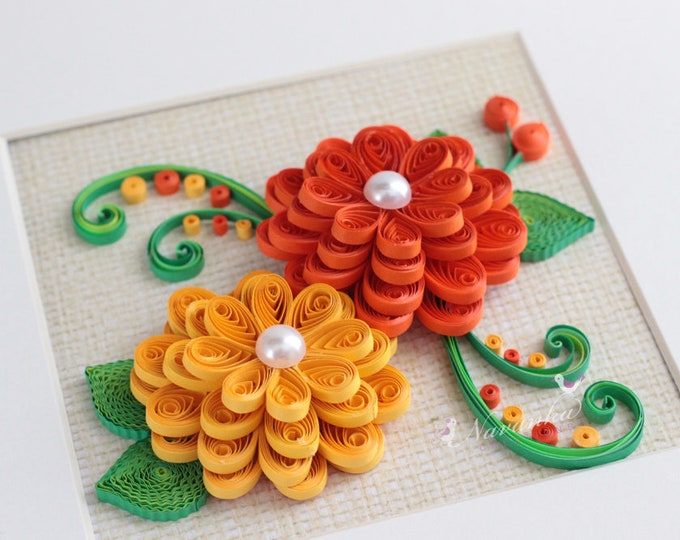 Fall Flower Wall Art Paper Quilling for Fall decor,Yellow and Orange flowers, Hostess gift, MOTHER, GRANDMOTHER , TEACHER, Birthday, Wedding