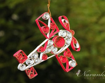 Paper Quilled Airplane,Red and White Airplane Ornament in a gift box,Christmas Ornament Paper  Airplane, Airplane Keepsake, Birthday,Moving