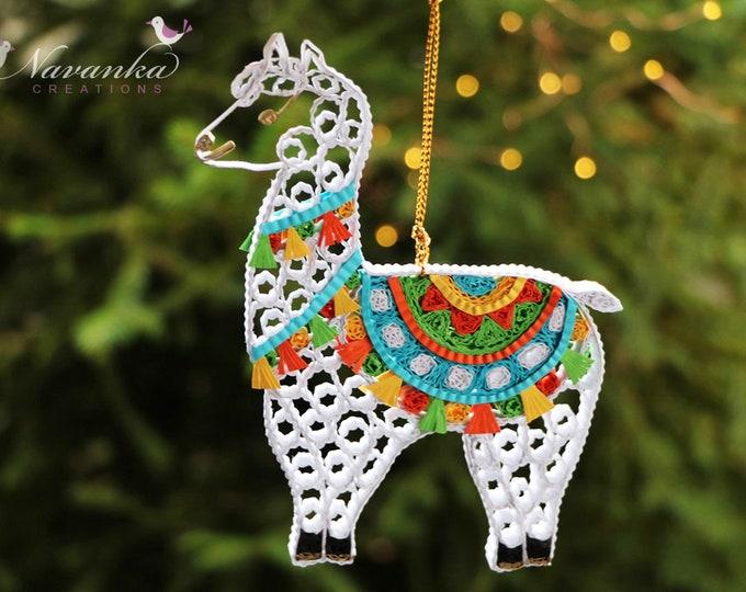 Paper Quilled Llama Ornament in a Gift Box, Christmas, Kids Room Decor, Nursery, Cute Llama keepsake, Alpaca ornament
