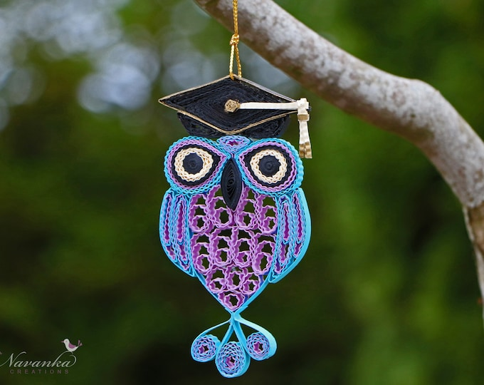Paper Quilling Owl with Graduation Cap , Graduation Keepsake Ornament, Purple and Blue Owl in a box, Christmas gift Reserved for Sangeeta