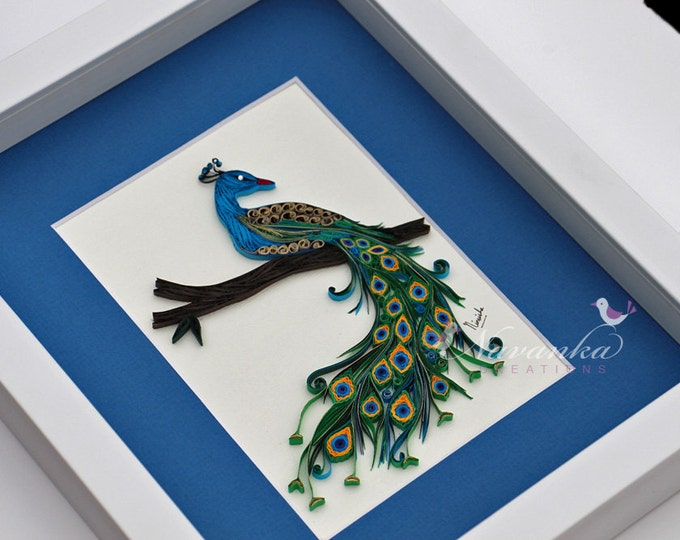 Paper Quilling Peacock Wall Art  in a frame, Peacock Wall Decor,  Paper Quilled Peacock sitting on a branch, Wall hanging Made to Order