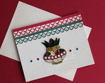 Paper Quilling Mangal Kalash Handmade Greeting Card Hindu Wedding,New Home,House Warming,Anniversary,Diwali  Hindu auspicious occasion