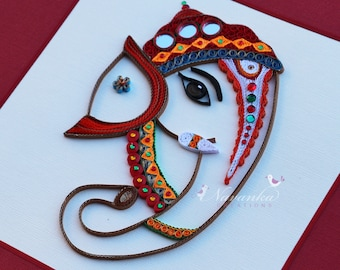Made to Order Handmade  Paper Quilling Lord Ganesha Framed Wall Art,Paper Quilled Lord Ganesha,Elephant God