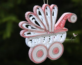 Paper Quilling  Pink and White Baby Carriage Ornament in a gift box, New Baby Keepsake, Baby Girl Keepsake Christmas Babyshower Mothers Day